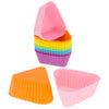 12-Pack Silicone Mini Triangle Reusable Baking Cup, Six Vibrant Colors