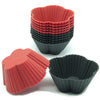 12-Pack Silicone Mini Cherry Flower Reusable Cup, Black and Red Colors