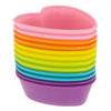 12-Pack Silicone Heart Reusable Baking Cup, Six Vibrant Colors