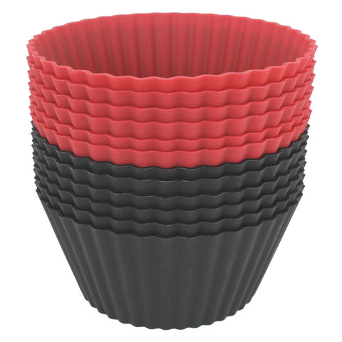 12-Pack Silicone Jumbo Round Reusable Cupcake and Muffin Baking Cup, Black and Red Colors