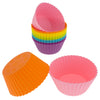 12-Pack Silicone Jumbo Round Reusable Baking Cup, Six Vibrant Colors