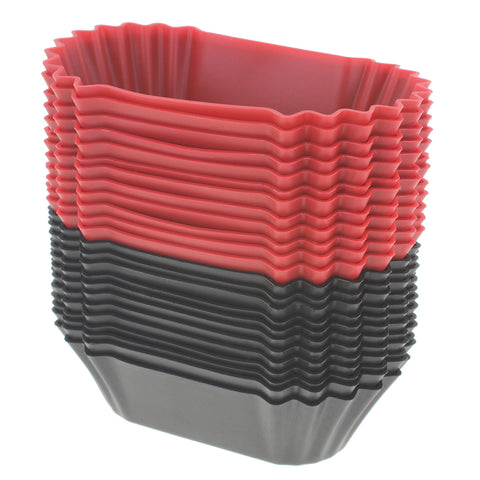24-Pack Silicone Jumbo Rectangle Round Reusable Cupcake and Muffin Baking Cup, Black and Red Colors