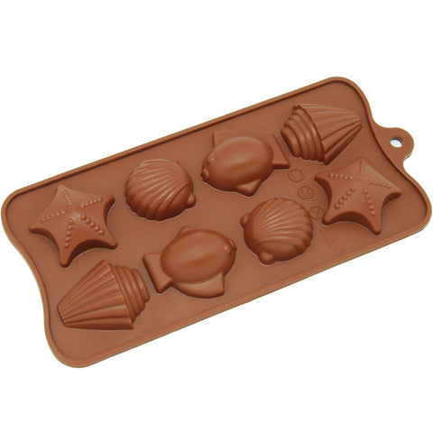 8-Cavity Silicone Seashell, Fish and Seastar Chocolate, Candy and Gummy Mold