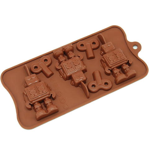 6-Cavity Silicone Robot and Key Chocolate, Candy and Gummy Mold