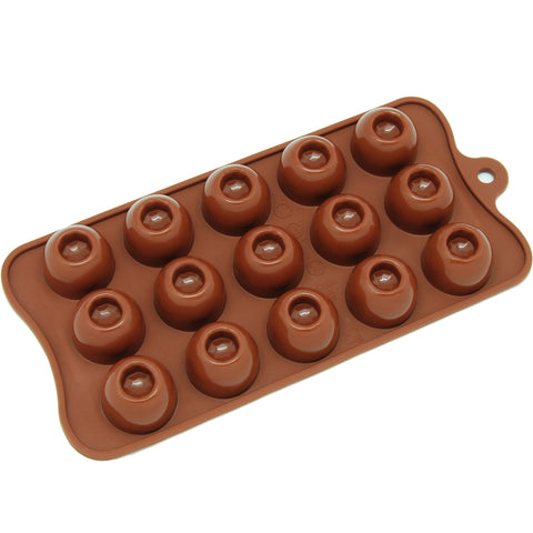 15-Cavity Silicone Dimpled Round Chocolate, Candy and Gummy Mold