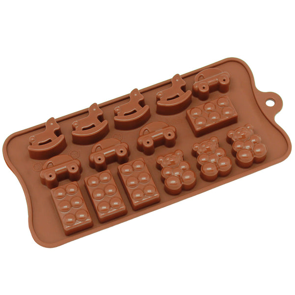 15-Cavity Silicone Toy, Car, Block and Bear Chocolate, Candy and Gummy Mold