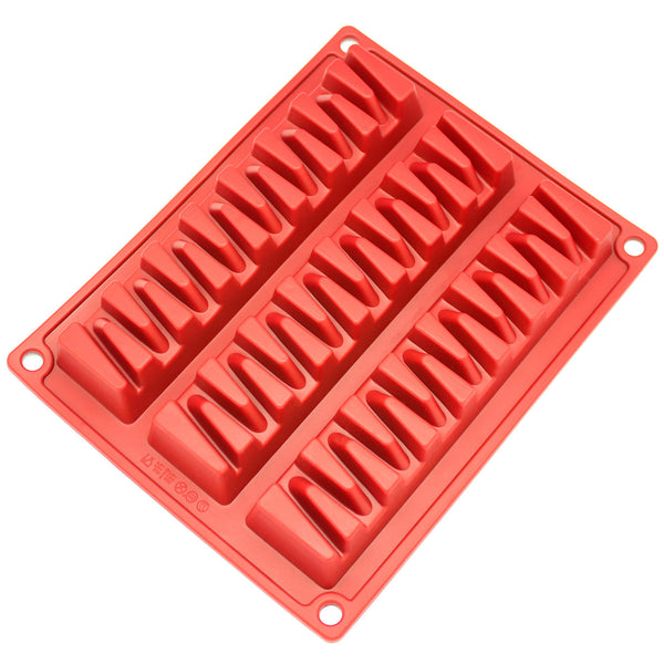 3-Cavity Zig Zag Silicone Mold for Making Break-Apart Chocolate, Protein, or Energy Bites and More