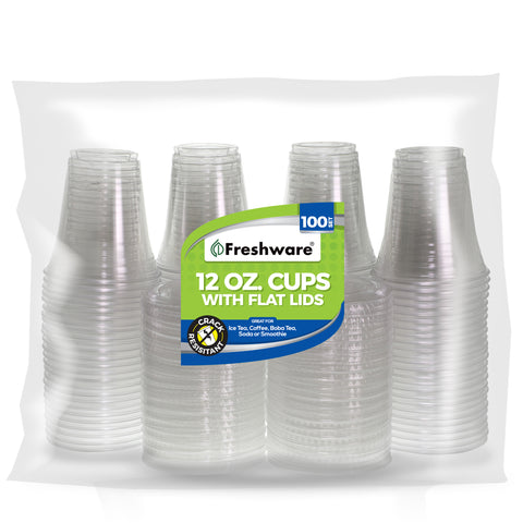 Freshware Clear Plastic Cups with Flat Lids (12oz, 100 Sets)