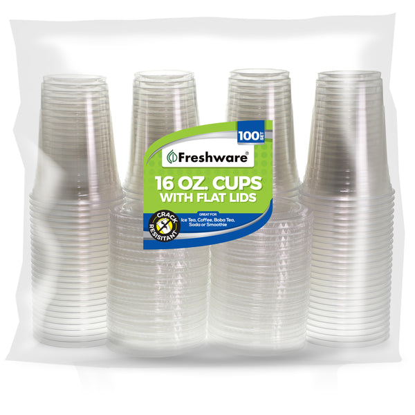 Freshware Clear Plastic Cups with Flat Lids (16oz, 100 Sets)