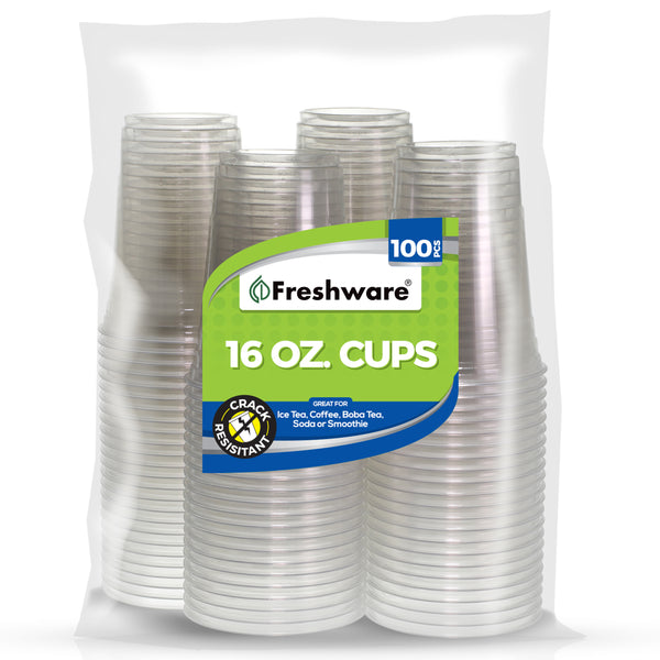 Freshware Plastic Clear Cup (16oz, 100 Pieces)