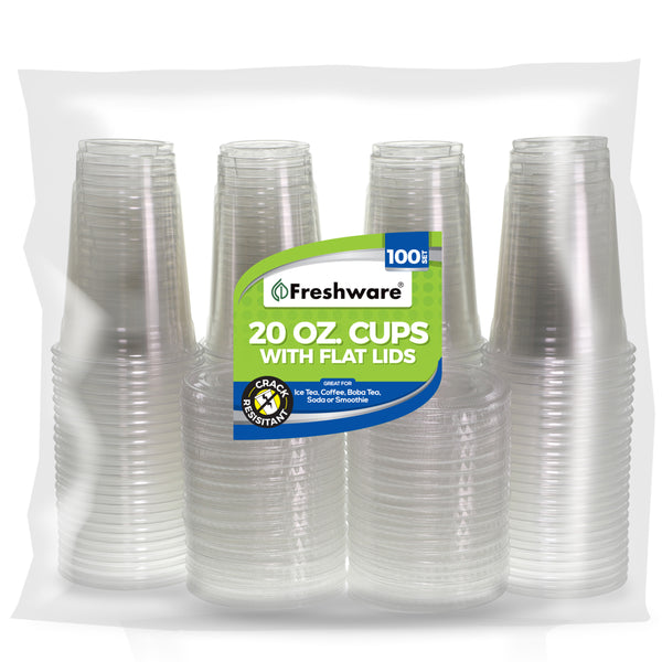 Freshware Clear Plastic Cups with Flat Lids (20oz, 100 Sets)