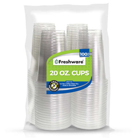 Freshware Plastic Clear Cup (20oz, 100 Pieces)