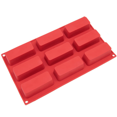9-Cavity Silicone Narrow Loaf, Energy Bar, Muffin, Brownie, Cornbread, Cheesecake, Pudding and Jello Shot Mold