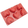 6-Cavity Silicone Double Heart Muffin, Brownie, Cornbread, Cheesecake, Panna Cotta, Pudding, Jello Shot and Soap Mold