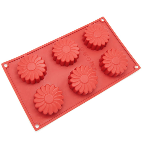 6-Cavity Silicone Daisy Flower Muffin, Brownie, Cornbread, Cheesecake, Panna Cotta, Pudding, Jello Shot and Soap Mold