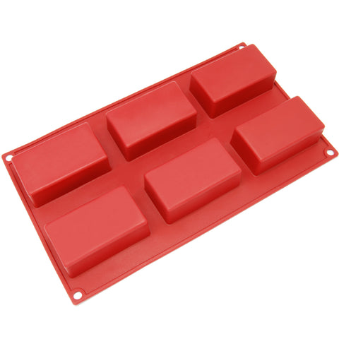6-Cavity Silicone Rectangular Muffin, Brownie, Cornbread, Cheesecake, Panna Cotta, Pudding, Jello Shot and Soap Mold