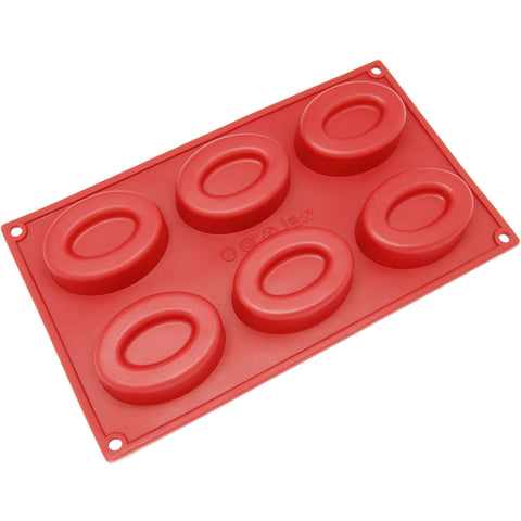 6-Cavity Silicone Double Oval Muffin, Brownie, Cornbread, Cheesecake, Panna Cotta, Pudding, Jello Shot and Soap Mold