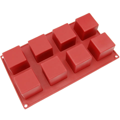 8-Cavity Silicone Square Cube Muffin, Brownie, Cornbread, Cheesecake, Panna Cotta, Pudding, Jello Shot and Soap Mold