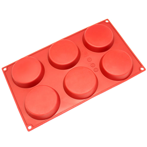 6-Cavity Silicone Mini Disc Cake, Pie, Custard, Tart and Resin Coaster Mold