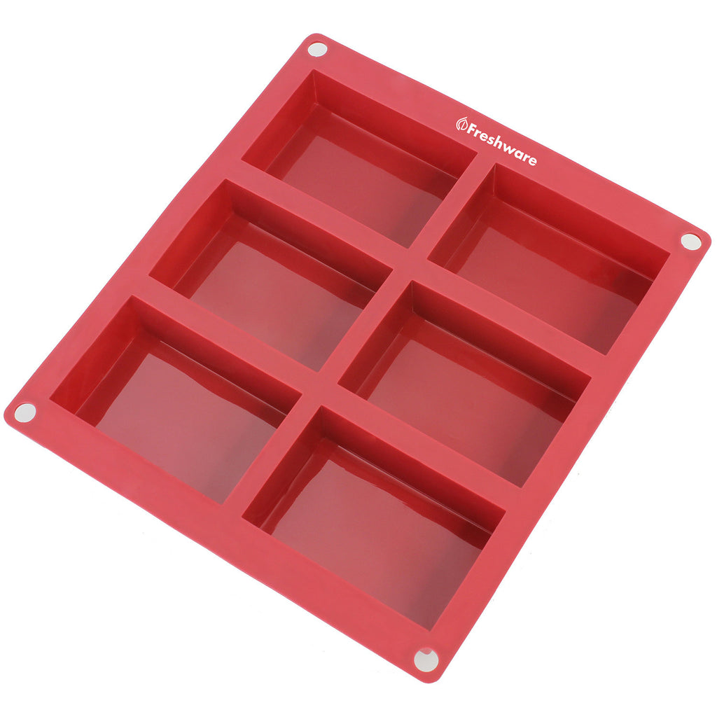 6 Cavity Rectangle Premium Silicone Soap Bar And Resin Mold