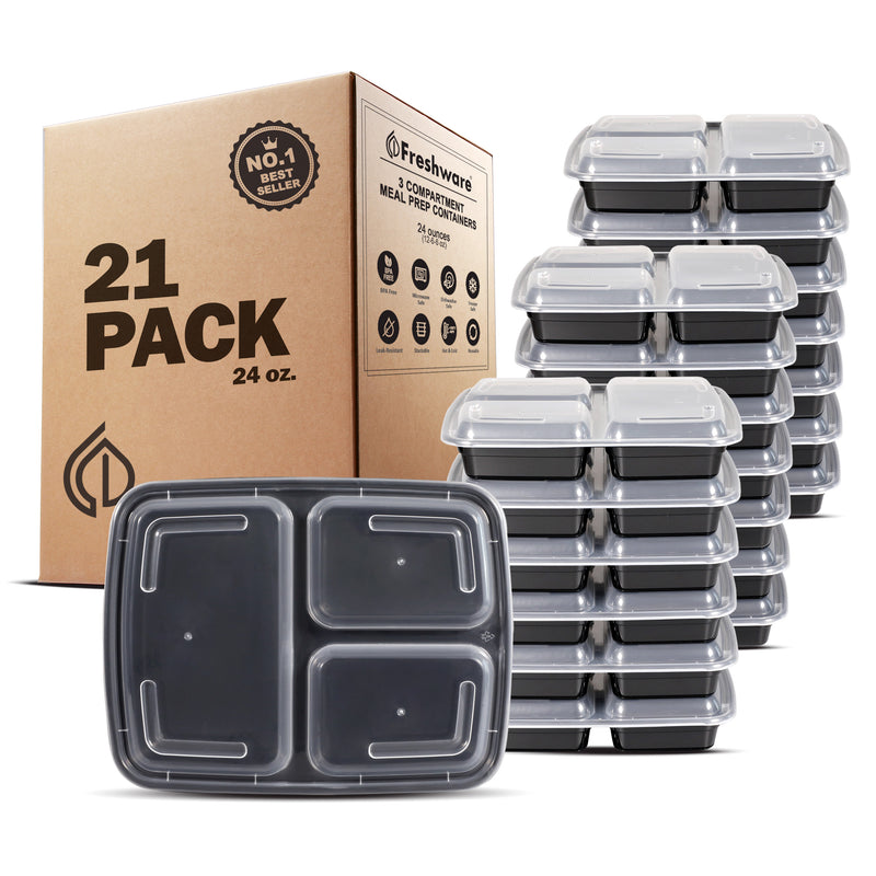 Freshware Meal Prep Containers 3 Compartment with Lids, Food Storage Containers, Bento Box | BPA Free | Stackable | Microwave/Dishwasher/Freezer Safe, Portion Control, 21 Day Fix, 24