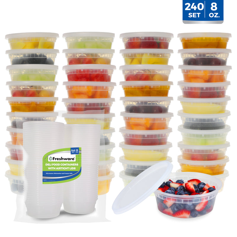 Freshware Food Storage Containers Plastic Deli Containers with Lids, Slime, Soup, Meal Prep Containers | BPA Free | Stackable | Leakproof | Microwave/Dishwasher/Freezer Safe