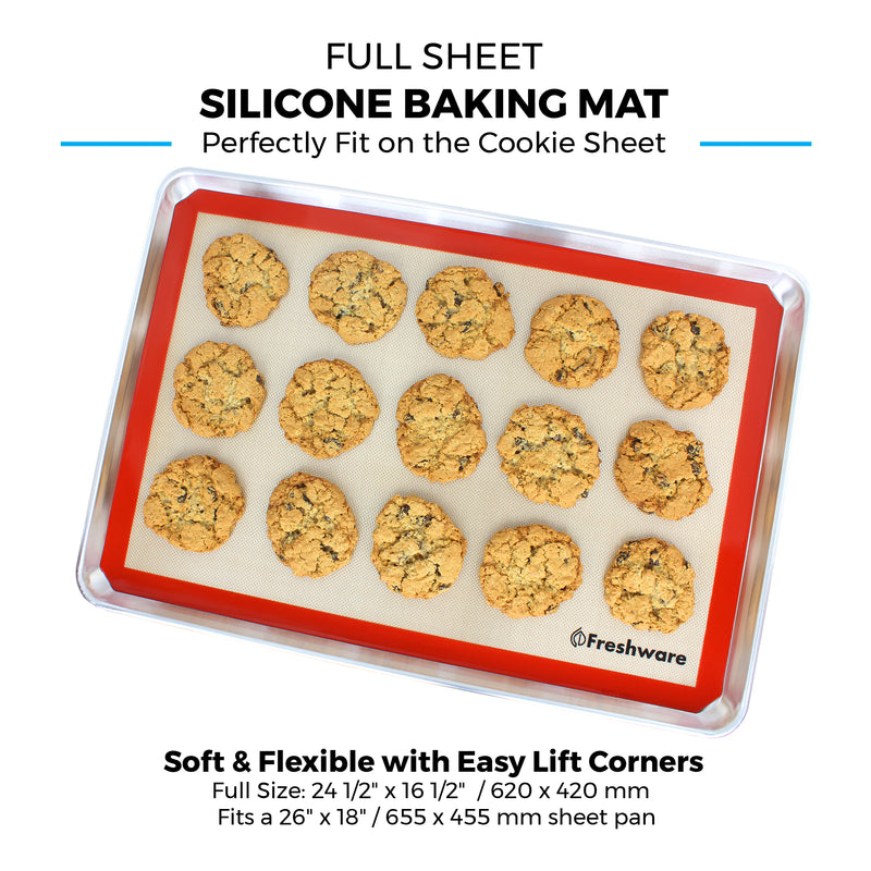 Silicone Baking Mats, Half Sheet, Big Sheet, Full Sheet, Non Stick Silicone Liner for Bake Pans and Rolling - Macaron, Pastry, Cookie, Bun, Brioche, Bread Making - Professional Grade