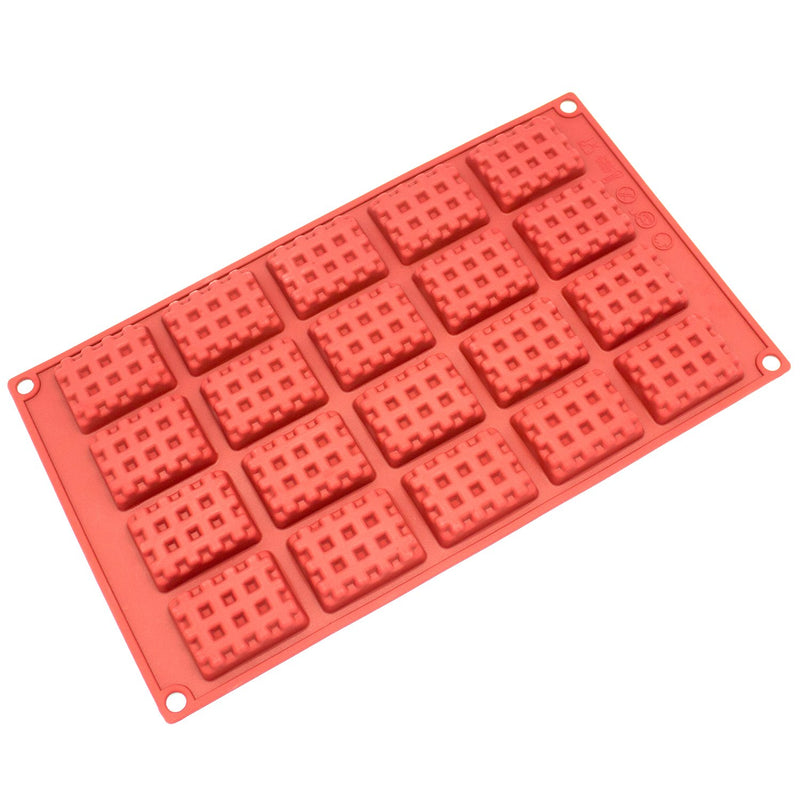 Silicone Chocolate Candy Molds [Rectangle Waffle, 20 Cup] - Non Stick, BPA Free, Reusable 100% Silicon & Dishwasher Safe Silicon - Kitchen Rubber Tray For Ice, Crayons, Fat Bombs and Soap Molds