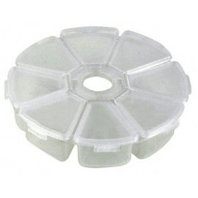 8-grid Round Clear Plastic Nail Art Tip Storage Box Case Tool
