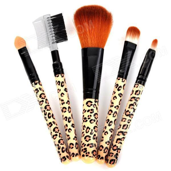 Leopard Handle Makeup Brushes Sets 5pcs