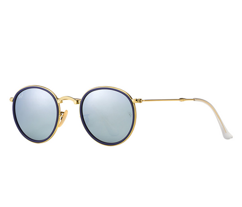 Ray-Ban Round Folding Flash Lenses (Gold / Silver Flash)
