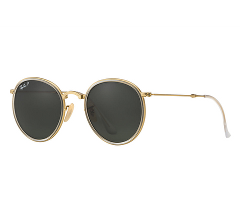Ray-Ban Round Folding Classic (Gold / Polarized Green Classic G-15)