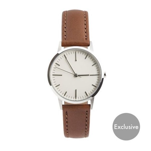 Silver and Light Brown Tan small dial fte3006 timepiece - Freedom To Exist - Luxury Unbranded Minimalist Watches