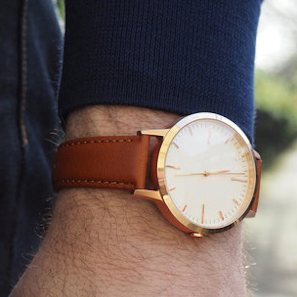 Wristwatch Review - Rose Gold & Tan - Mens Minimalist Watch - Freedom To Exist