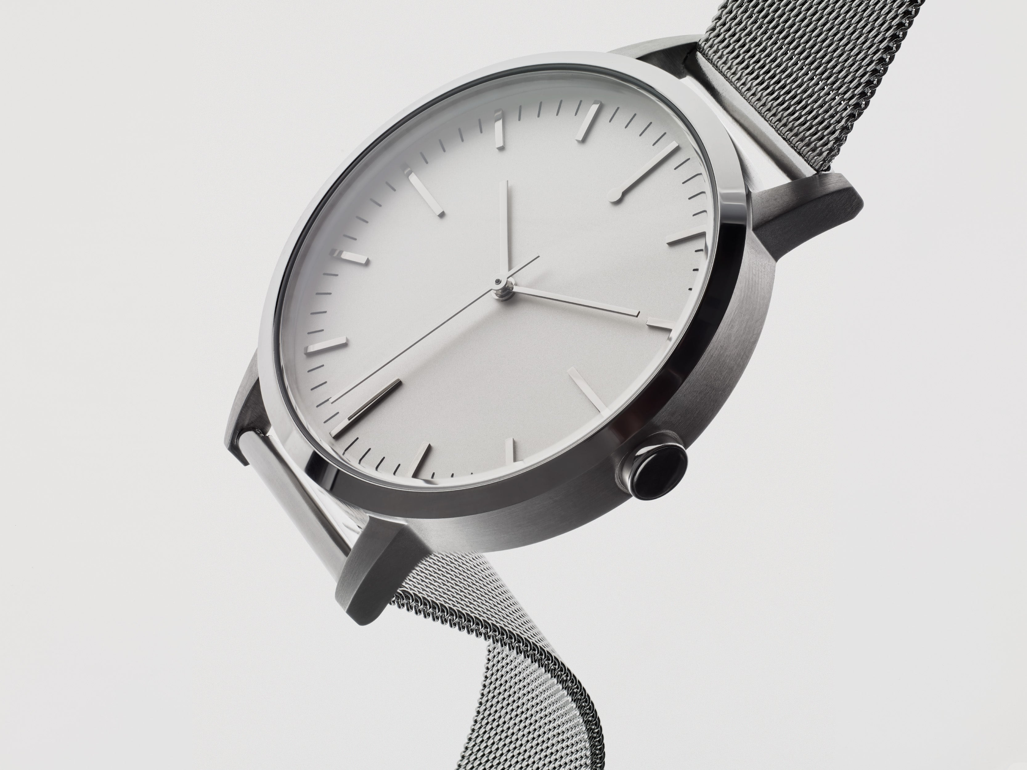 Ladies Watch Mesh Strap - Simple Design - Silver Mesh - UK - Under £100 - Freedom To Exist - Minimal Watches British Design