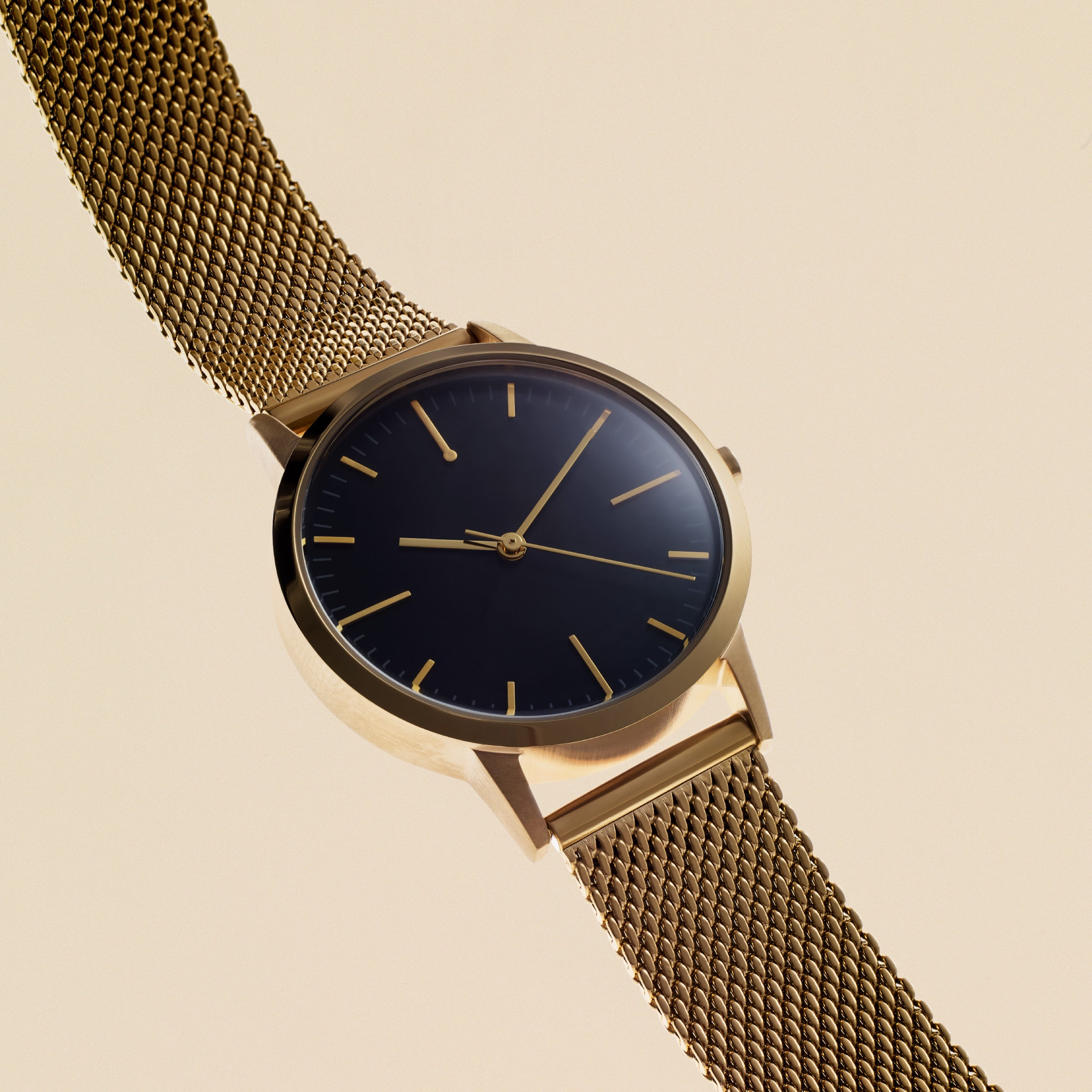Ladies Watch Gold Mesh Strap - Simple Design - Gold Mesh Black Dial - UK - Under £100 - Freedom To Exist - Minimal Watches British Design