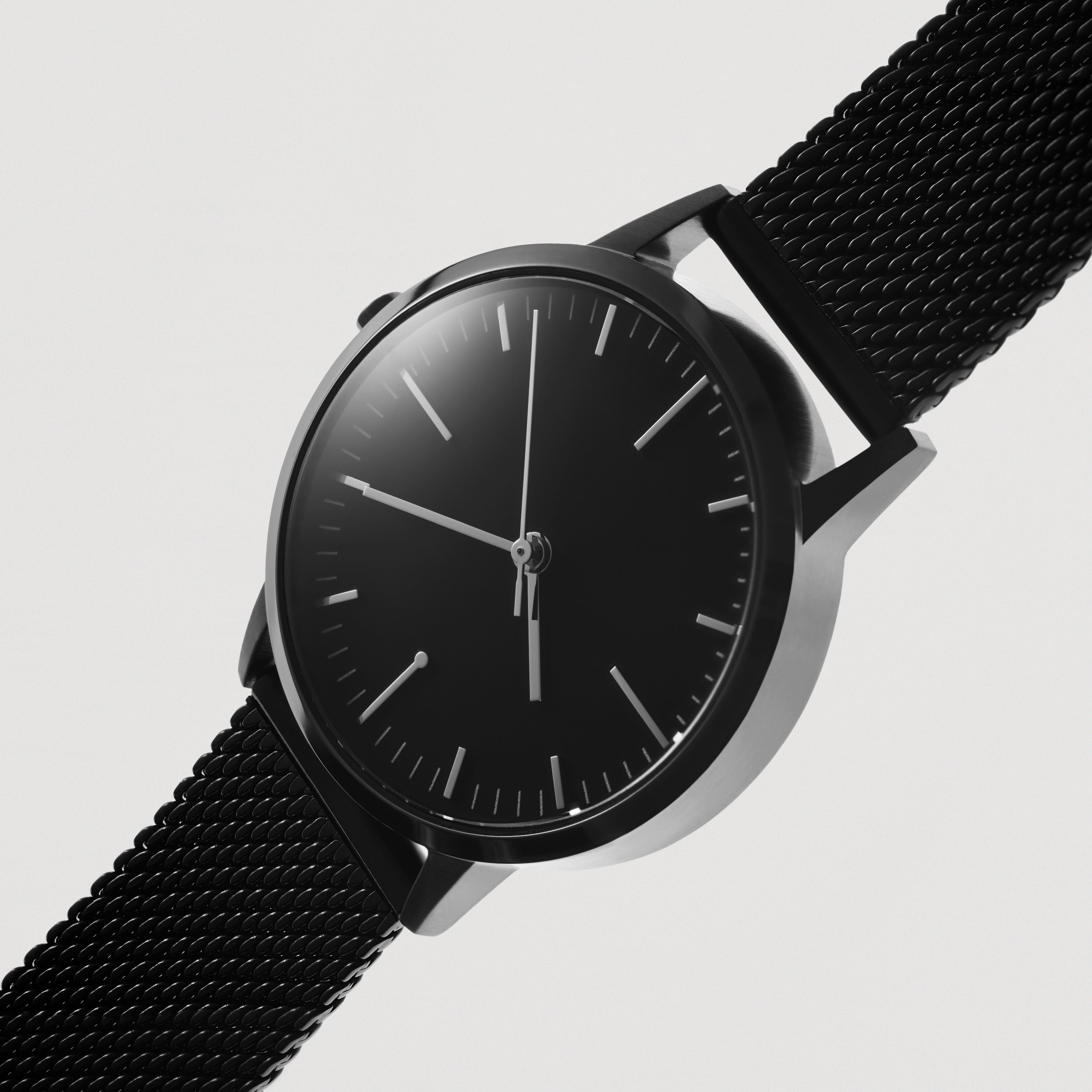 Ladies Watch Mesh Strap - All Black Watch - Simple Design - Black Mesh - UK - Under £100 - Freedom To Exist - Minimal Watches British Design