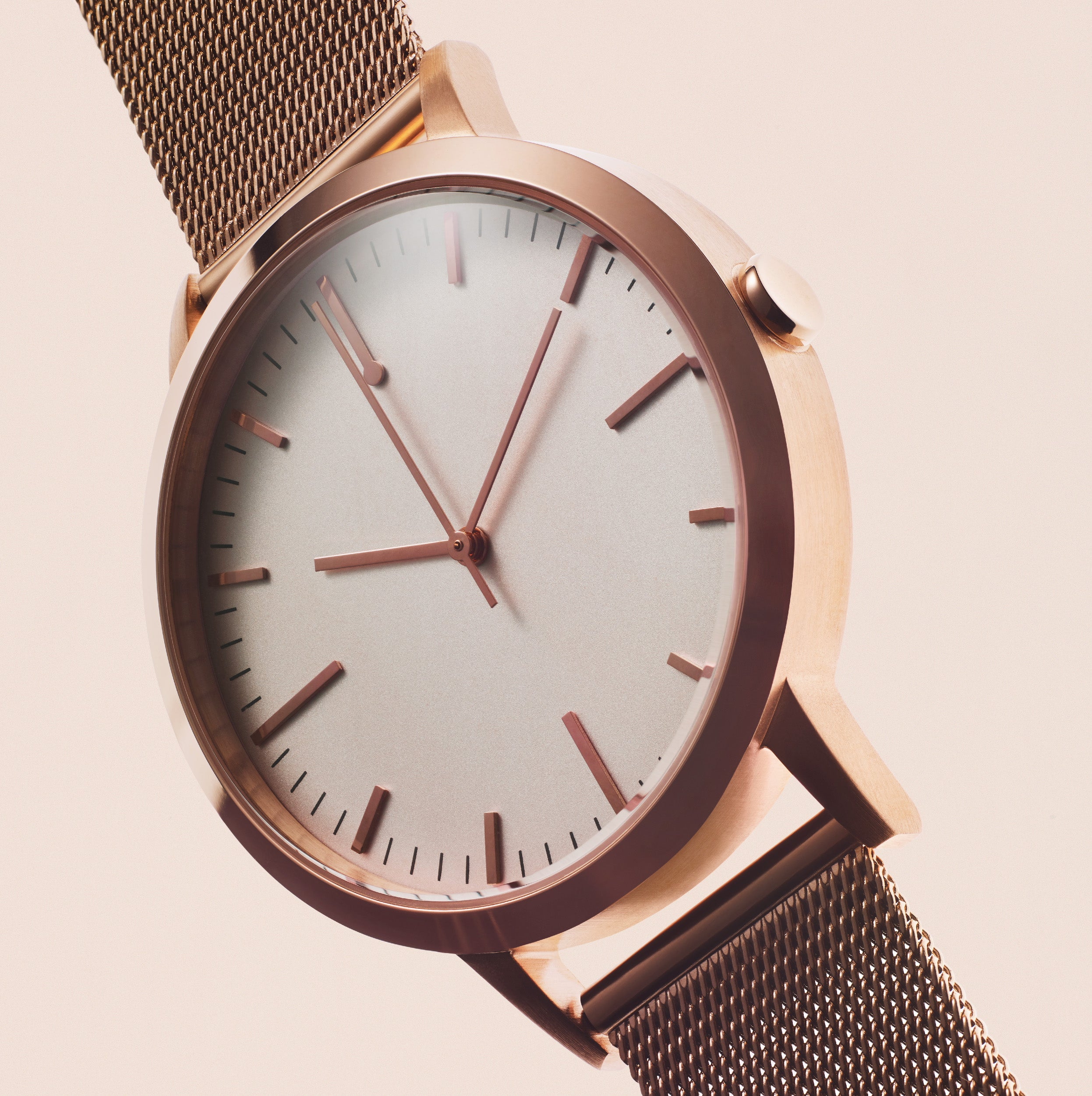 Mens Watch Mesh Strap - Simple Design - Rose Gold Mesh - UK - Under £100 - Freedom To Exist - Minimal Watches British Design