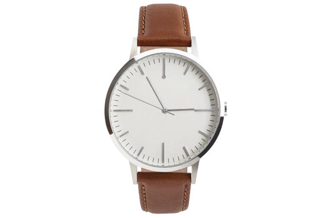Silver and Tan Mens watch - Minimalist Simple Timepiece - Fashion Beans - Freedom To Exist