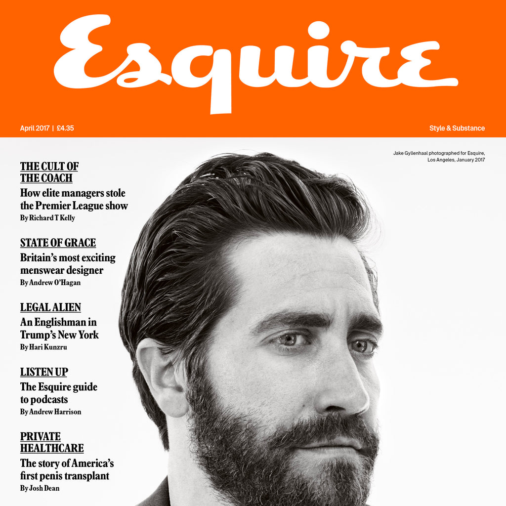 Our SIlver and Black mens watch as featured  in Esquire with Jake Gyllenhaal on the cover