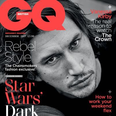 Our All Black watch featured in GQ Magazine with Adam Driver on the front cover