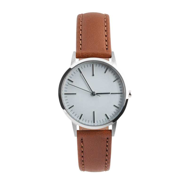 fte3005T | Silver, Grey & Tan Leather Watch