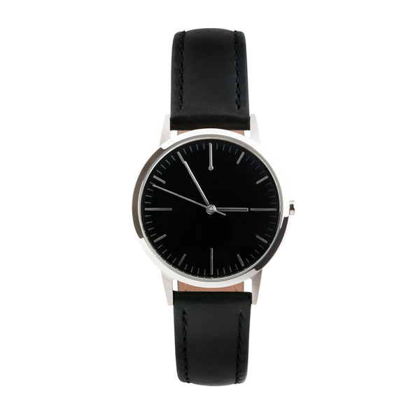 Silver, Black Dial Watch - Black Strap - 30mm Womens small dial unbranded vintage minimal watch