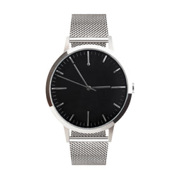 40mm Mens Silver Watch with Black dial - Silver Milanese Mesh strap