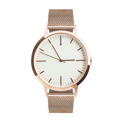 Rose Gold Watch - Minimal Simple Large Dial 40mm Milanese Mesh strap - Freedom To Exist