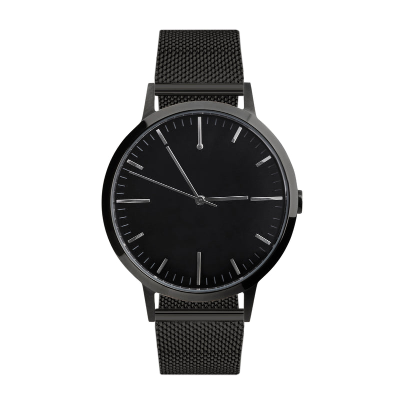 40mm Watch - All Black Milanese Mesh Mens watch - Freedom To Exist