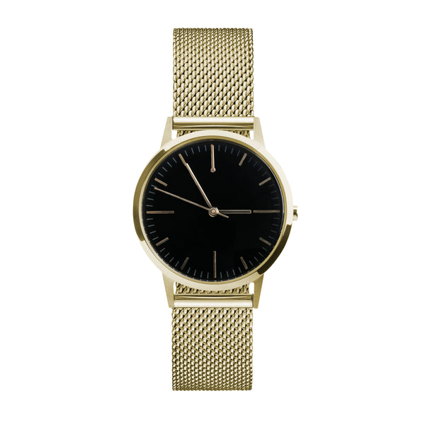gold and black dial 30mm unbranded minimal watch with 15mm milanese metal mesh strap - freedom to exist