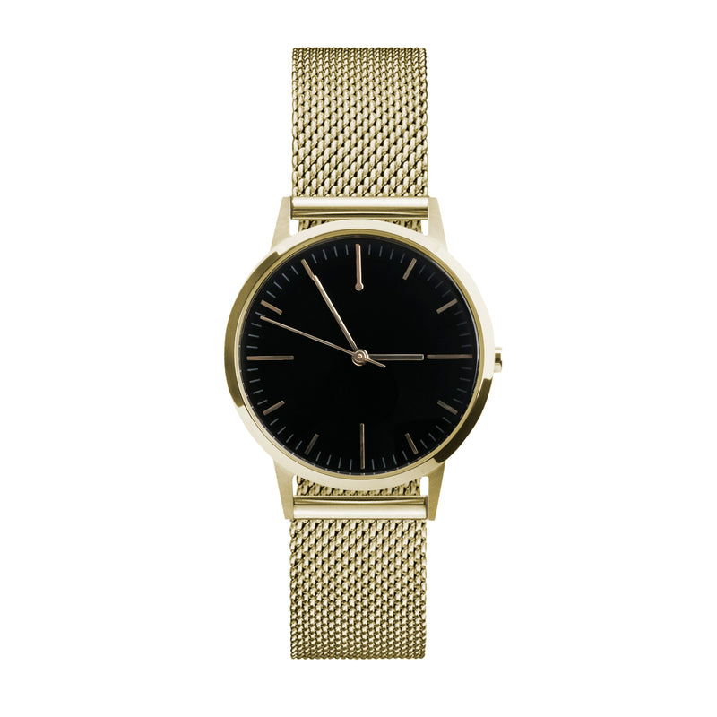 gold and black dial watch 30mm unbranded minimal watch with 15mm milanese metal mesh strap - fte