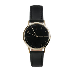 Ladies Gold & Black Watch - Simple unbranded no logo design for the skinny wrist