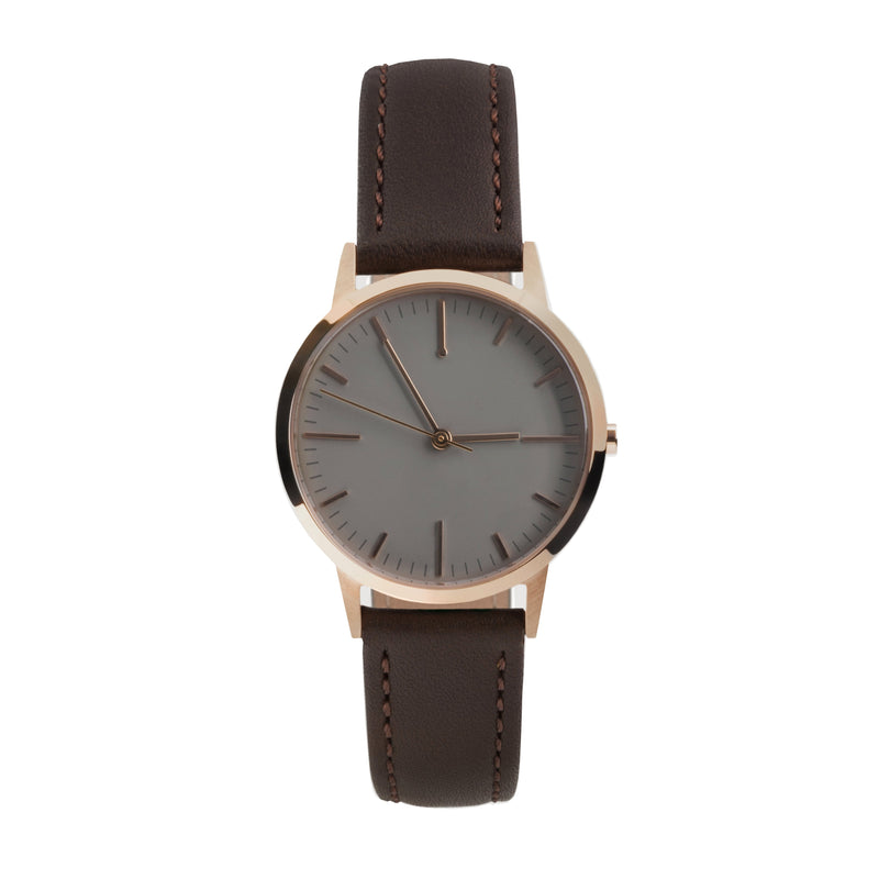 Ladies Watch Under £50, Small 30mm Rose Gold Dark Brown Leather Womens Minimal Unbranded - Skinny Wrist